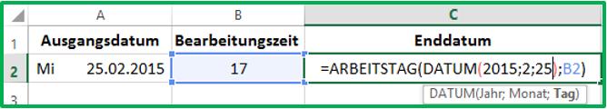 Excel Datum in die Funktion ARBEITSTAG eintragen mit Hilfe der Funktion DATUM