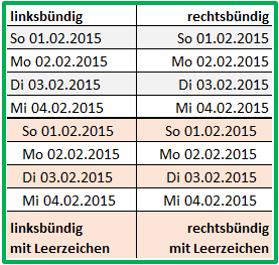 Excel Datum ausrichten