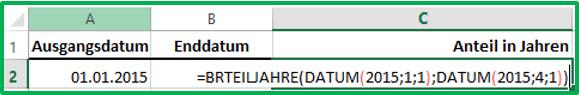 Excel Datum in die Funktion BRTEILJAHRE eintragen mit Hilfe der Funktion DATUM