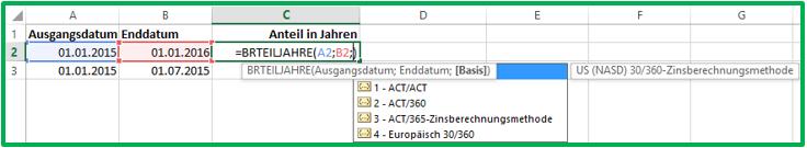 Excel Datum Differenz berechnen mit der Funktion BRTEILJAHRE