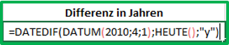 formel differenz excel