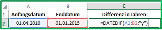 Excel Datum Differenz berechnen mit DATEDIF