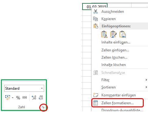Excel Datum Dialogfenster zum Formatieren öffnen