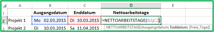 Datum-Differenz Excel-Funktion NETTOARBEITSTAGE