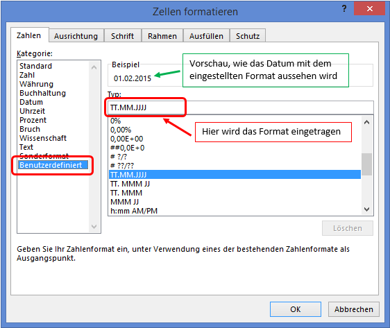 Excel Datum eigenes Datumsformat erzeugen