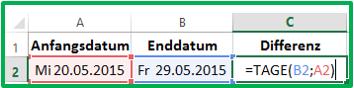 Excel Differenz in Tagen berechnen mit der Funktion TAGE
