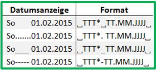 Excel Datum individuell formatieren