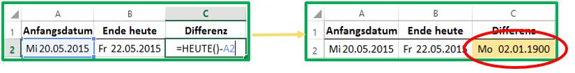 Excel Differenz mit der HEUTE-Funktion berechnen: =HEUTE()-Datum