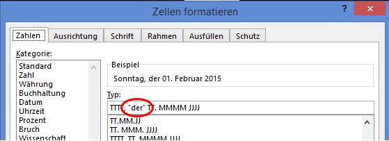 Excel Datumsformat mit eigenen Texten