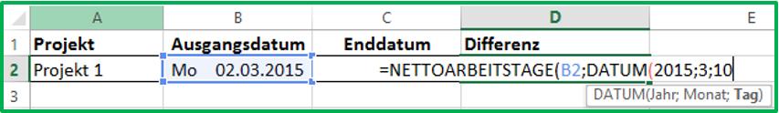 Excel Datum in die Funktion NETTOARBEITSTAGE eintragen mit Hilfe der Funktion DATUM