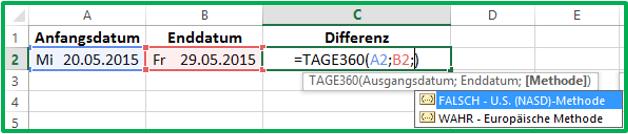 Excel Datum Differenz mit TAGE360: Wahl der Methode