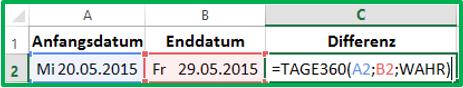 Excel Datum Differenz berechnen mit der Funktion TAGE360