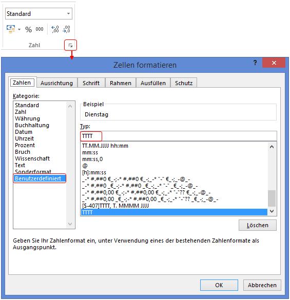 Excel Funktion WOCHENTAG als Wochentag formatieren