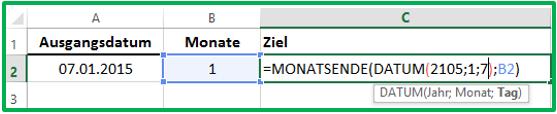 Excel Datum in die Funktion MONATSENDE eintragen mit Hilfe der Funktion DATUM