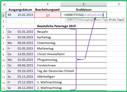 Excel neues Datum berechnen mit ARBEITSTAG unter Berücksichtigung weiterer freier Tage