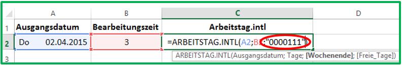 Excel neues Datum berechnen mit ARBEITSTAG.INTL unter Berücksichtigung eines individuellen Wochenendes