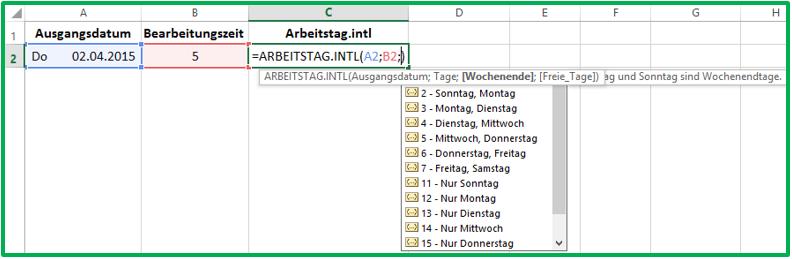 Excel Ein neues Datum mit der Funktion ARBEITSTAG.INTL berechnen