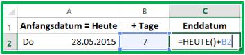 Excel neues Datum mit der HEUTE-Funktion berechnen: =HEUTE()+7
