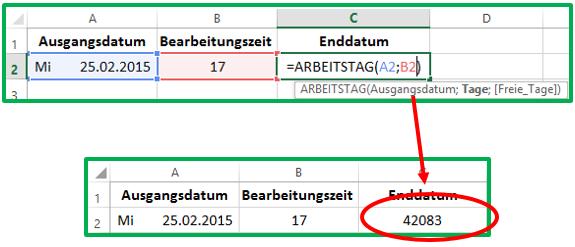 Excel Ein neues Datum mit der Funktion ARBEITSTAG berechnen