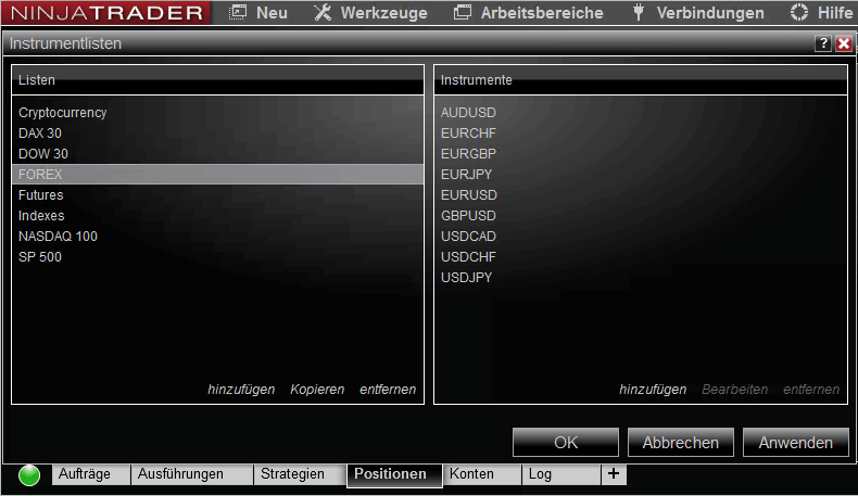 NinjaTrader-Instrumentlisten