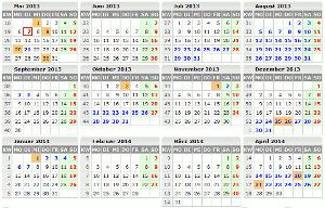 Kalender mit Ferien